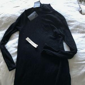 NWT Reformation Black Turtleneck Ribbed Dress