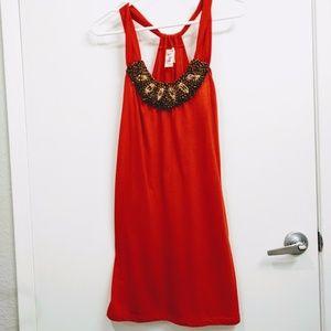 Orange dress with wood bead accent