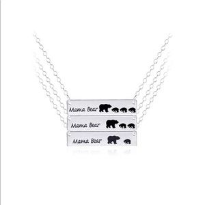 Mama bear silver necklace with babies