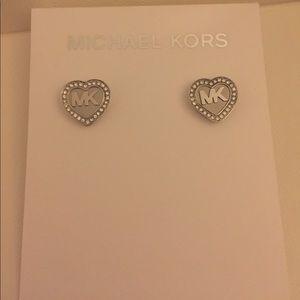 Michael Kors Silver Heart Earrings