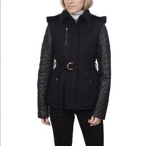 NWT Victorinox Erika II Wool Coat, Leather sleeves