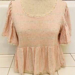 Free People Striped Baby Doll Tee Crocheted Edges