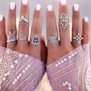 Jewelry - BOHO SILVER RING SET 10pc flower band Finger