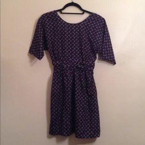 Heart-Printed Navy Dress ❤️