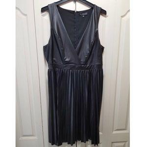 Eloquii studio pleated faux leather dress