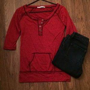 Edgy red space dye top