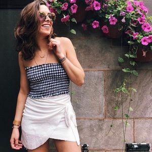 Checkered Smocked Crop Top