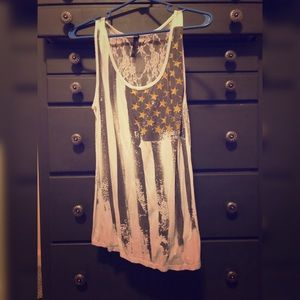 Lace Back American Flag Tank