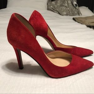 Jessica Simpson red pumps high heels