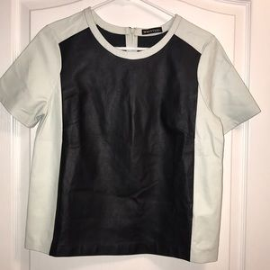 New Whistles Leather Color Block Short Sleeve Top