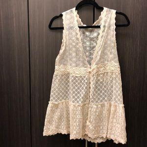 Lace boho vest, sheer and sleeveless