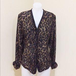 Silk animal print long sleeve top