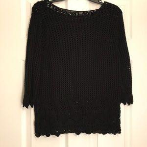 Black crochet style top