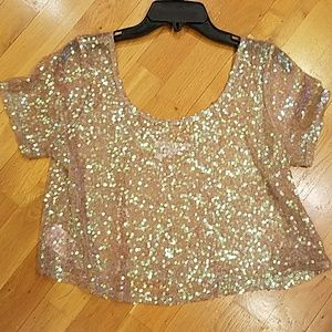 BCBGENERATION Sequin Crop Top Small