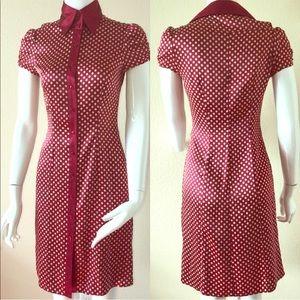 Vintage bebe Red Polka Dot Silk Dress XS