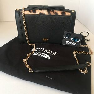 BOUTIQUE MOSCHINO  tied-up leopard leather bag