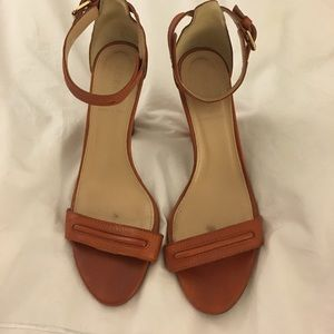 JCrew Cognac Leather Ankle Strap Heeled Sandals