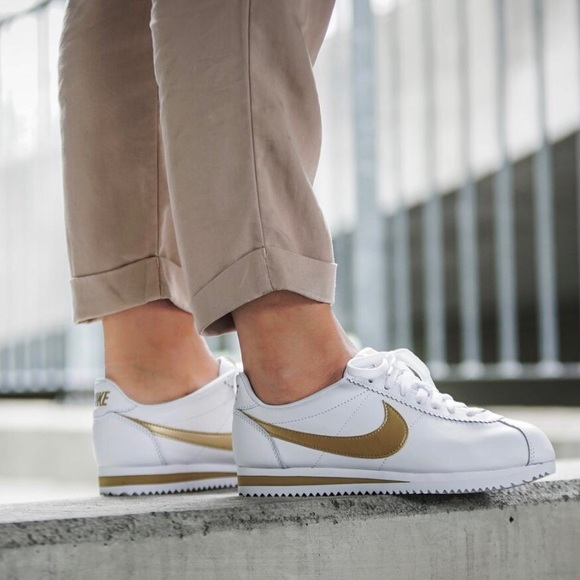 Nike White Gold Leather Cortez Sneakers