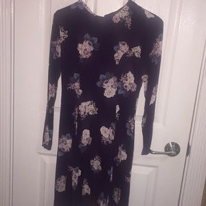 Long sleeve floral fit and flare dress NWOT