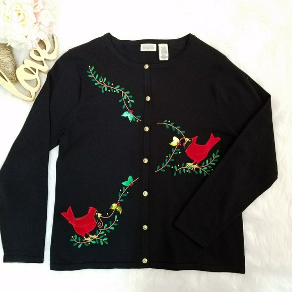 classic elements christmas sweater with cardinals - Classic Christmas Sweaters