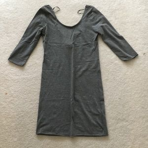 Basic Long-Sleeve Grey Dress