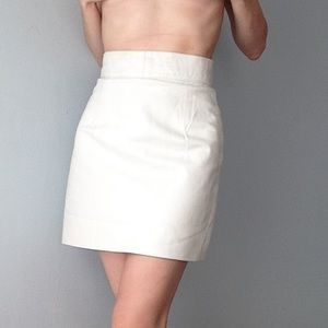 vintage paris white genuine leather skirt 38 4