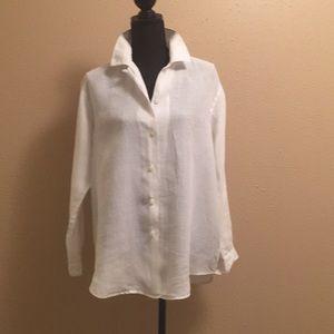 Merona White Classic White  100% linen blouse