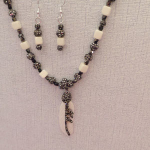 PRICE DROP! Bone Feather Pendant Necklace Set