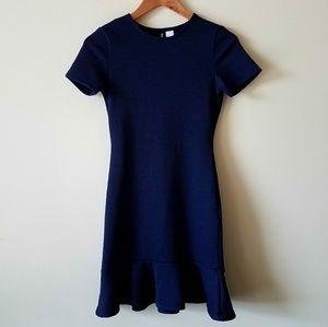 H&M Divided Blue Stretchy Dress with Flounce Hem