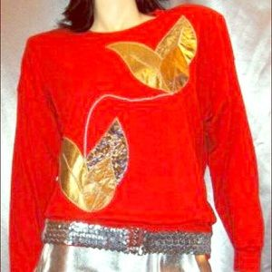 VTG 80s SILVER & GOLD SPACE AGE GLAM Red Party Top