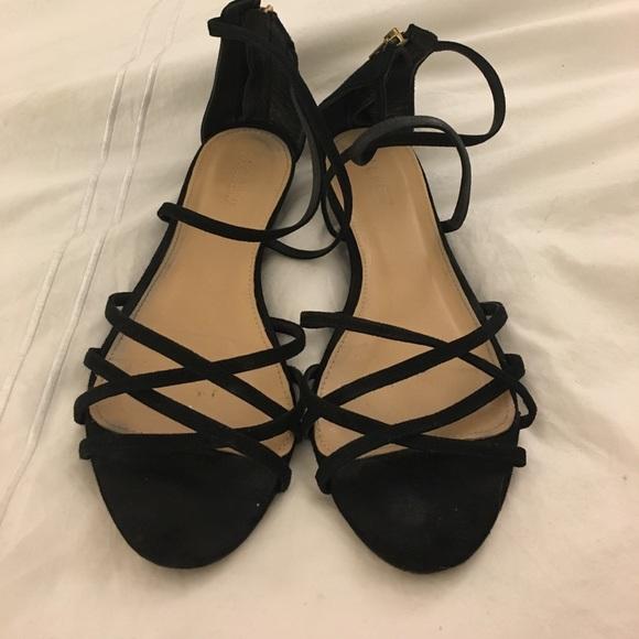 376cec19e0099 J. Crew Shoes - JCrew Black Strappy Suede Flat Sandals
