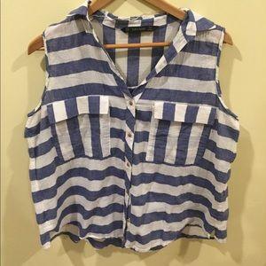 ZARA✌🏻striped LINEN blue/white sleeveless top XL