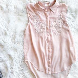 Lush Pink Embroidered Sleeveless Tunic