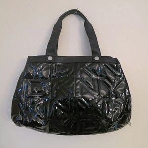 DKNY Patent Leather Purse Handbag Black Quilted L