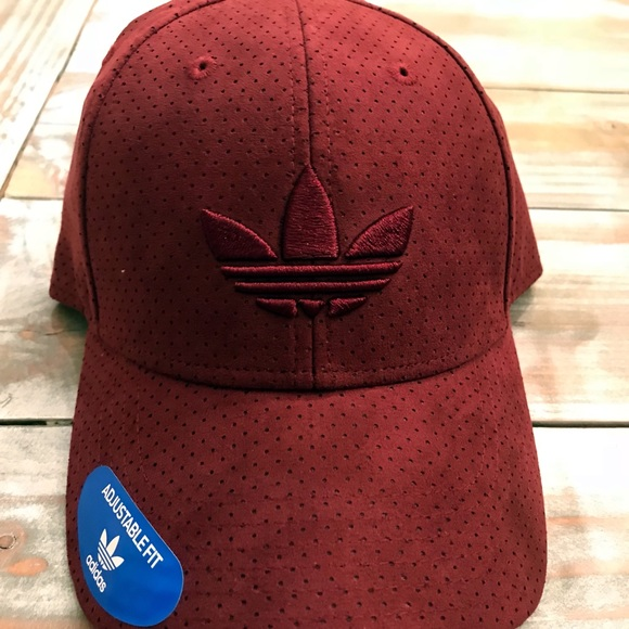 Adidas trefoil suede burgundy hat cap 5ed7556469f