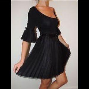 BEBE Silk Pleated Ruffle Tiered Babydoll Dress M