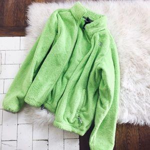 NORTHFACE Fleece Plush Zip Up Jacket Green