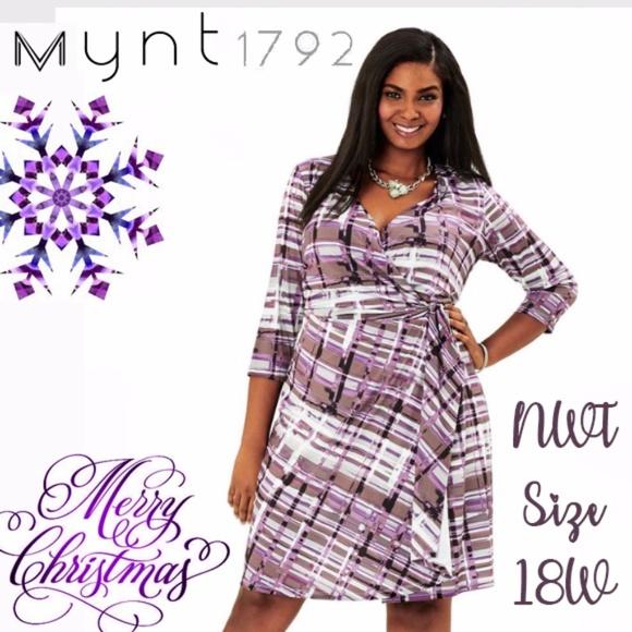 b311f409cc5 MYNT 1792 purple plaid wrap dress Size 18W