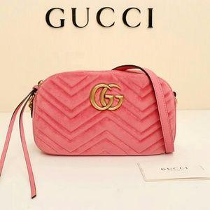 Gucci Pink Velvet Marmont Handbag