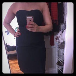 Sweetheart neck navy blue strapless dress