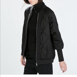 Black bomber jacket with tight sleeve!