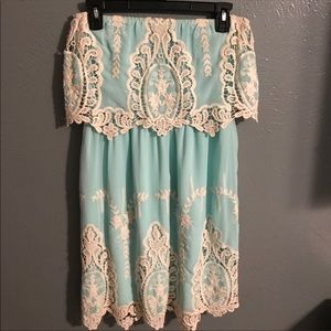 Lace turquoise and cream dress!