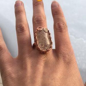 Citrine Crystal Copper Ring Handmade