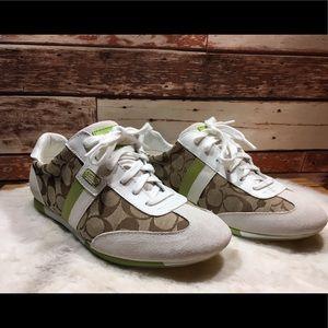 Coach Joss Sneakers in Green & White