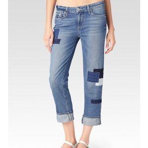 Paige Porter-Bethany Patch Boyfriend Jeans. Sz 26