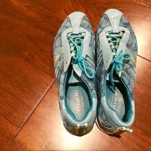Canary blue Coach tennis shoes
