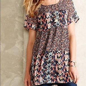 Wolven Anthropologie patterned tunic blouse