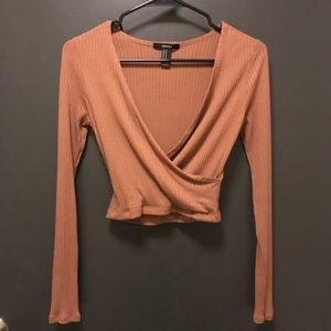 NWOT Ribbed wrap top