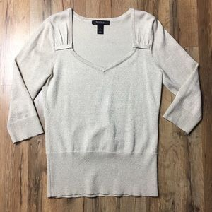 WHBM metallic weave stretchy 3/4 sleeve sweater