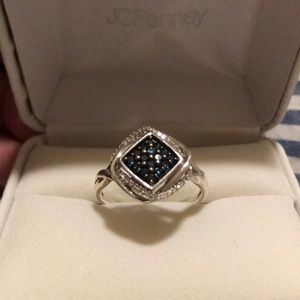 Silver Ring with Blue White Diamonds Size 9